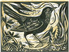 Ballindalloch Blackbird Linocut By Mark Hearld. Taking his inspiration from the flora and fauna of the British countryside, Mark works across a number of mediums, producing limited edition lithographic and linocut prints, unique paintings, collages and hand-painted ceramics.