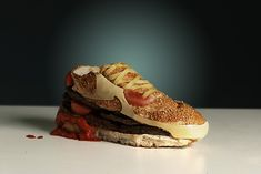 """Nike Air Max 90 by Olle Hemmendorff who says: """"In the tradition of material innovation of AM 90, I constructed a running shoe using the most powerful, must durable and most delicious material known to man: hamburger."""""""