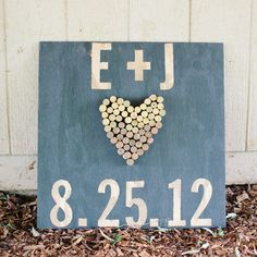 Wood and Wine Cork Wedding Sign.I already have the cork heart ready to go! Vineyard Wedding, Farm Wedding, Wedding Signs, Dream Wedding, Rustic Wedding, Wedding Fun, Trendy Wedding, Wedding Reception Entrance, Wedding Ceremony Decorations