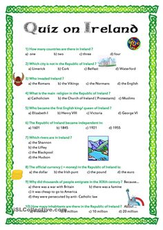 Quiz on Ireland worksheet - Free ESL printable worksheets made by teachers