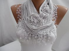Light Gray Cotton Shawl/ Scarf  Headband  Cowl with Lace by DIDUCI, $19.00