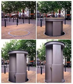 """This pop-up-urinal from the UK is called """"Urilift"""" and can be lowered into the ground when it is not needed. Hopefully it won't pop-down while one use it ;-)"""