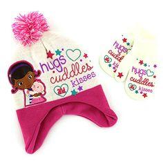 Disney Doc McStuffins Pink Bandages Girls Knit Applique Winter Hat Gloves Set