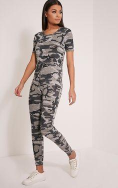 Kelsah Grey Camouflage Casual Jumpsuit Image 1