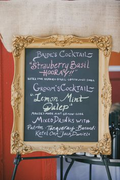 Bride and grooms signature drinks for the guests