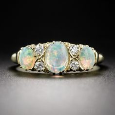 English 18k Opal and Diamond Ring