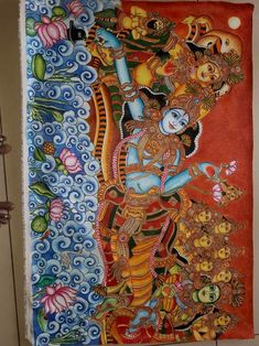 Mysore Painting, Kalamkari Painting, Kerala Mural Painting, Madhubani Painting, Indian Traditional Paintings, Indian Art Paintings, Glass Painting Patterns, Fabric Painting, Symbolic Art