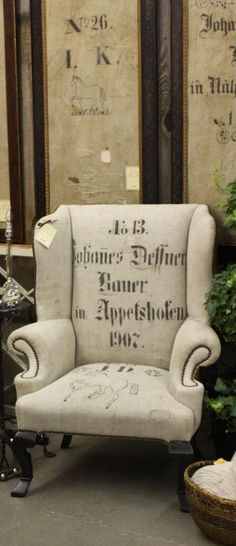 Exactly what I want to do to my 2 wing chairs! ~ Stenciled german grainsack chair 3 fine grains trouvais