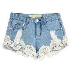 Summer Sexy Lace Jeans For Women 2017 High Waist Loose Boyfriend Hollow Out Vintage Short Jean Push Up Tassel Denim Shorts
