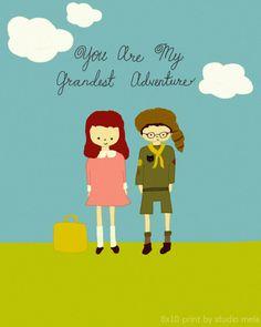 Grand Adventure - illustration digital print, moonrise kingdom inspired, poster, love quote, childrens art, movie poster nursery,