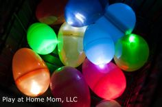 Glow in the dark Easter eggs!!! Indoor egg hunt? I think so!!    Play At Home Mom LLC: Adventures in the Dark