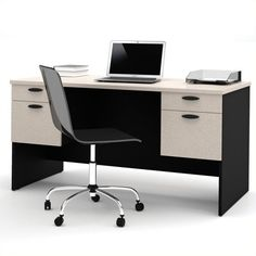 Bestar Hampton Home Office Computer Desk ($430) ❤ liked on Polyvore featuring home, furniture, desks, grey, gray furniture, systems furniture, grey furniture and gray desk