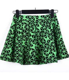 #Sheinside Black Green Geometric Print MIni Skirt - Sheinside.com