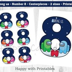 Among us Centerpieces Among us Number 6 toppers Among us   Etsy Super Mario Party, Super Mario Bros, Luigi, Car Cake Toppers, 5 Inch And Up, Printable Box, Number 9, Shark Party, Star Work
