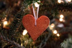 Cinnamon applesauce heart ornaments:  Great project for kids, and they smell wonderful!