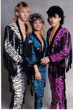 Mens 80s Hair Metal Rock Band Spandex Fringe Concho Jacket Black White Snake O S | eBay