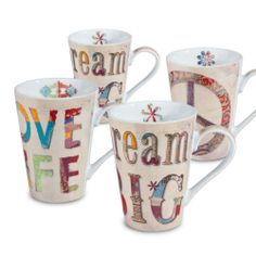 Konitz 'Peace, Dream, Love' Porcelain Mugs (Set of 4) | Overstock.com Shopping - The Best Deals on Mugs