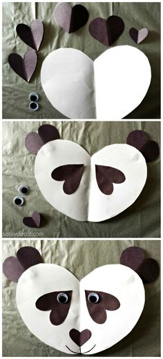 #Panda #Craft For Kids - Made out of paper hearts!