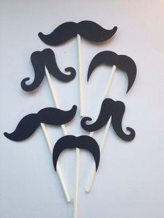Mustache Cupcake Toppers | 12 Mustache Cupcake Toppers,Little Man First Birthday,Baby Showers ...