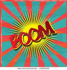 boom label over vintage background vector illustration - stock vector