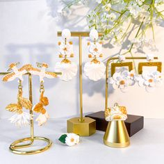 Designer Earrings, Place Cards, Candle Holders, Place Card Holders, Candles, Floral, Flowers, Porta Velas, Candy