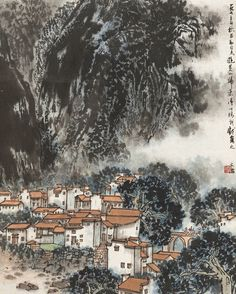 Song Wenzhi(b. 1919~1999) LANDSCAPE Hanging scroll; ink and colour on paper. 宋文治(b. 1919~1999) 黃山新貌(1973年作) 立軸 設色紙本  46 x 37 cm. 18 1/8 x 14 1/2 in. 約1.5平尺  鈐印:文治 題識:一九七三年秋,君勱同志游黃山歸來得此稿,我戲寫之。文治。