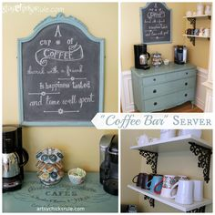 """Coffee Bar"" Server w/Shelves.  Love the idea of setting something similar up in our kitchen one day!"