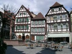 """p 202: """"Bretten, however, interested him.  It looked much like any other town as they drove in, but Clare quickly found the centre, and parked close to some distinctively German-looking half-timbered buildings.  Even in his distracted state, Andrew could see that this was a very attractive town, and wondered if there would be time to see some of it later."""" Centre, Buildings, German, Cabin, Mansions, House Styles, Design, Home Decor, Deutsch"""