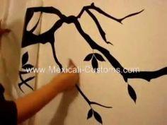 Aplicação de Adesivo de Parede - Galhos de Árvore - http://www.decoracaodecoracao.com/aplicacao-de-adesivo-de-parede-galhos-de-arvore
