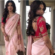 Light pink sari with red Embroidery Blouse prefect attire for any function or party saree blouse combo Set Fancy Blouse Designs, Bridal Blouse Designs, Latest Saree Blouse Designs, Indian Designer Outfits, Indian Outfits, Sari Rose, Lehenga Choli, Red Lehenga, Costumes