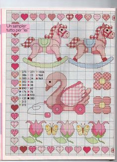 Motivos infantiles: pato, caballitos, flores, corazones