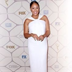 Talk Show Host #TameraMowry looked radiant at the Fox #Emmys afterparty in a #StJohnKnits Spring 2015 Collection dress.  #emmysdress #redcarpet #spring2015 #instafashion #lookoftheday #potd