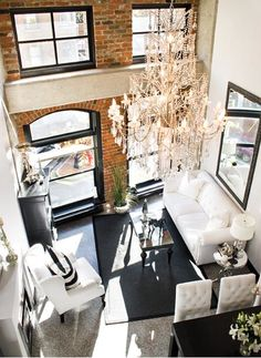 Bachelorette Pad: Decorating small places / loft apartment. I love the chic look with brick.