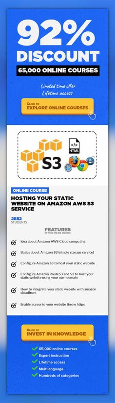 Hosting your static website on Amazon AWS S3 service Web Development, Development #onlinecourses #learningathomeproducts #studytips  steps to host your static website on Amazon S3 with very low cost (less than 1Dollar/m) and very fast without any server Do you need to host your staticwebsite for your company or private useon number onecloud company with very low cost about 1 $/month with hig...