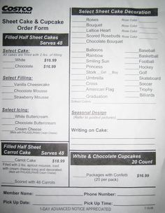 costco cupcakes order form Google Search Lm station Pinterest