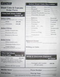 Costco Sheet Cake Order Form CakepinsCom    Pinteres