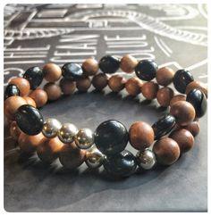 Bracelet de bois de santal et onyx noire par SAUCHAinspirations