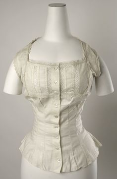 Corset Cover: ca. 1880, American or European, cotton, lace.