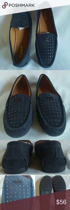 Size 7.5 Coach Suede Studded Loafer Orlene Navy Size 7.5 Coach Loafer- Orlene Classic loafer design with studded detail across vamp. Synthetic outsole, leather insole.  Only worn inside to try on- shoes have been in storage. No box Coach Shoes Flats & Loafers