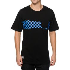Skate in comfort with a breathable cotton construction with a blue checkered graphic across the chest and a solid black left chest pocket.