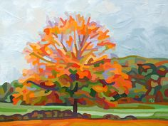 Contemporary abstract landscape painting art by Mandy Budan - Autumn Afternoon