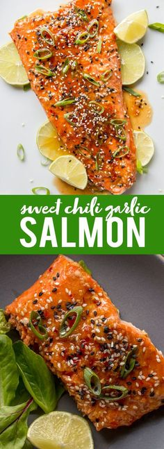 This Roasted Sweet Chili Garlic Salmon will be your favorite way to eat salmon! This quick and easy salmon recipe only takes 20 minutes and is packed with sweet, tangy and spicy Asian flavors that will become a family dinner favorite. |Easy dinner recipe