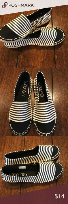 Brand New navy white stripe espadrilles flat 8.5 9 Super cute and brand new. Never worn navy and white stripe espadrille shoes. Very dark navy almost black color. Size tag reads 9 however these definitely run small so that's why I put 8.5 in the listing title. I normally wear a 9 and they were just too tight for me. So they should fit an 8-8.5 comfortably. sociology Shoes Espadrilles