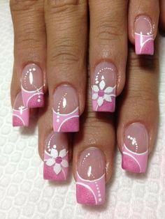 Vicki's manicure! Pink Nail Art, New Nail Art, Pink Nails, Flower Nail Designs, Toe Nail Designs, Pretty Nail Art, Beautiful Nail Art, Fancy Nails, Cute Nails