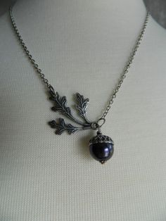 AUTUMN BREEZES - Aged Silver Acorn and Leaves Necklace by Changing Seasons-THIS!!! with a burgundy pearl! LOVE IT!!!!!