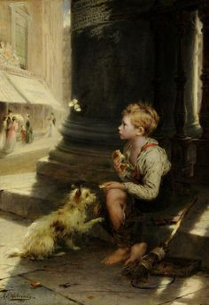 A Share of Crust,  oil on canvas,1871, by Augustus Edwin Mulready, British, 1844-1905.