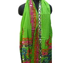 Embroidered scarf/boho scarf/ multicolored scarf/ green scarf/ cotton scarf/ large scarf/ fashion  scarf/ gift scarf / gift ideas. by vibrantscarves on Etsy
