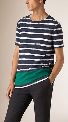 White/green Striped Cotton T-shirt - Image 1