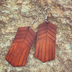 Excited to share this item from my shop: Southwestern Style Hand Tooled Leather Earrings Diy Leather Earrings, Leather Jewelry, Wooden Earrings, Custom Jewelry, Handmade Jewelry, Leather Industry, Leather Cuffs, Tooled Leather, Leather Stamps