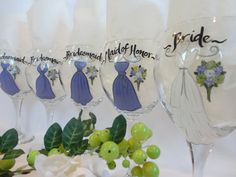 Personalized Bridesmaid Glasses – Hand Painted to replicate YOUR EXACT details of your wedding gown, bridesmaid dresses, tuxes flowers and other details of your wedding  {www.samdesigns.net} , $24 ea.